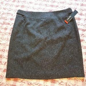 "NWT-20"" Skirt Gray White Fleck Textured Poly/Rayon"